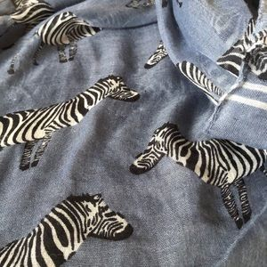 Accessories - Blue scarf with zebra prints